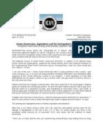 2013 04 10 NCAPA April 10 Immigrant Rights Press Conf. Media Advisory UPDATE