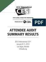 2013 International CES® Attendee Audit Summary