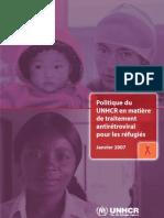 Politique du HCR en matière de traitement antirétroviral pour les réfugiés (Janvier 2007)