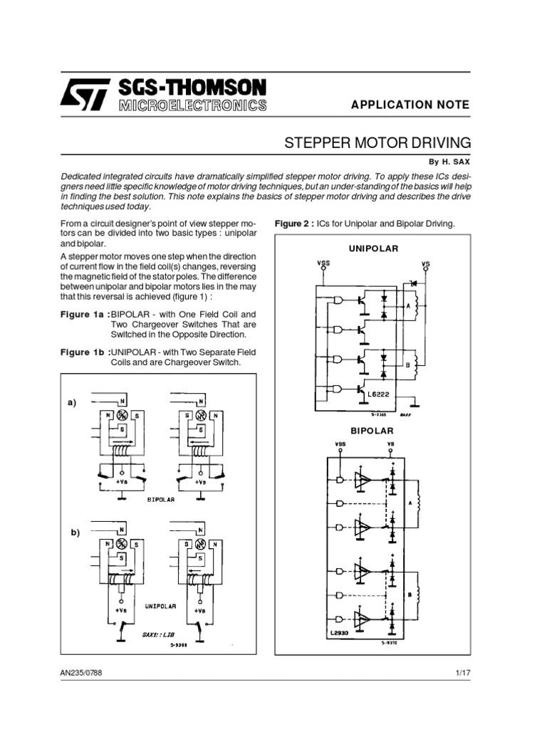 Aplication Note Stepper Motor Driving Electric Generator Bipolar Drive Circuitdb Current