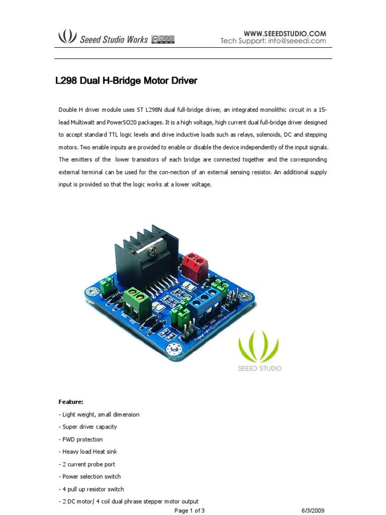 l298 Dual H-bridge Motor Driver L Stepper Motor Driver Schematic on