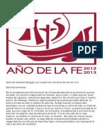Carta del Cardenal Bergoglio con ocasión del comienzo del año de la fe (1-10-2012)