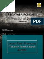 Lateral Earth Pressure (Contd 2) Dan Dinding Turap - Rekpon I