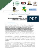 Convocatoria Foro Nacional de Seguridad y Soberania Alimentaria -2013