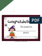 Certificate Halloween Blank Congratulations