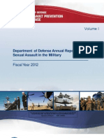 FY12 DoD  Annual Report on Sexual Assault -VOLUME ONE