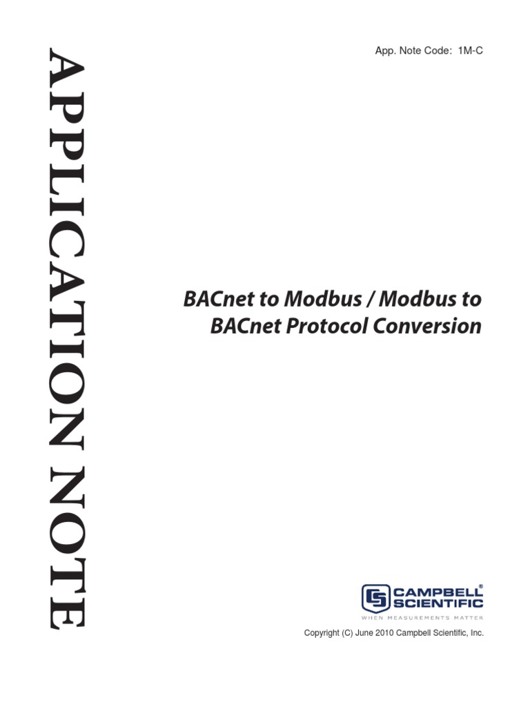 MODBUS BACNET conversion | Communications Protocols