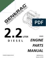 Isuzu 2.2L Diesel Engine Parts Manual PN 0D9255