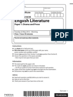 IGCSE Edexcel English Literature - Question Paper 1 - Tuesday 22nd May 2012