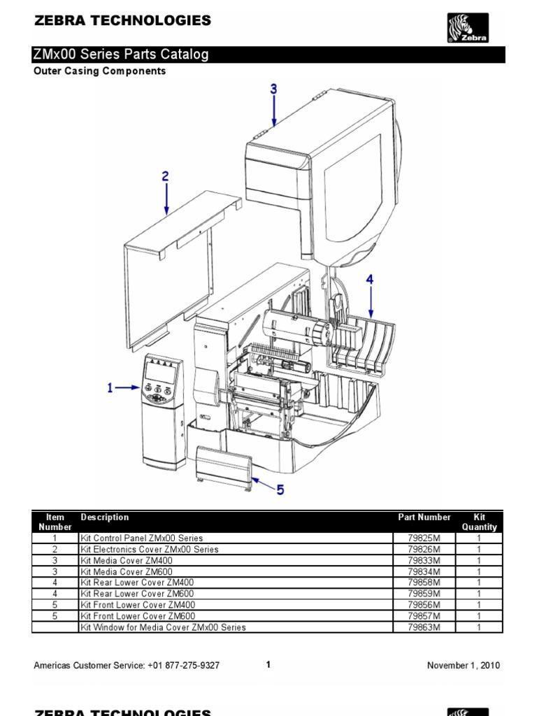 zmx00 series parts catalog rh es scribd com zebra zm400 parts diagram zebra zm400 parts diagram