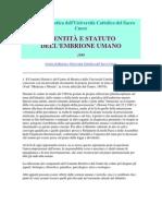 Centro di Bioetica dell_IDENTITÀ E STATUTO DELL'EMBRIONE UMANO_1989
