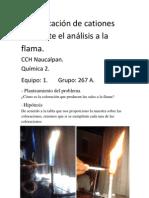 Practica #4. Identificación de cationes mediante el análisis a la flama.