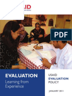 Evaluation Learning from Experience, USAID Evaluation Policy, 2011, uploaded by Richard J. Campbell