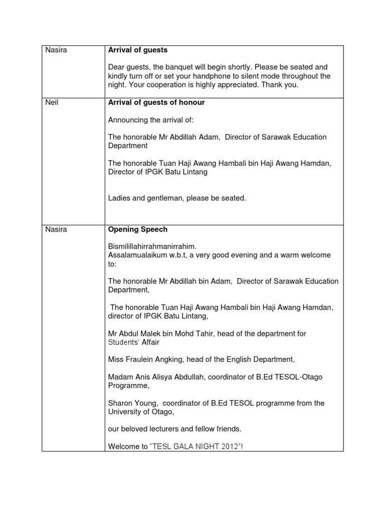 Emcee Script for Annual Dinner by Otago 2012