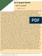 h.p.lovecraft - Letter to August Derleth