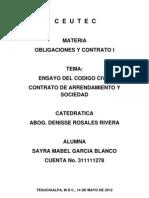 Ensayo Codigo Civil, Tarea de Obligaciones y Contratos i