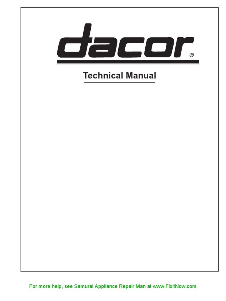 dacor technical manual electric current relay rh es scribd com Dacor rsd30s Parts Dacor Rsd305