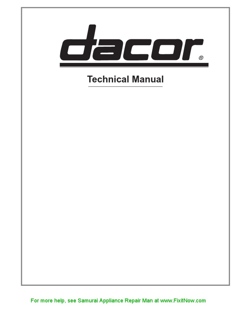 dacor technical manual electric current relay rh es scribd com Oven Wiring Diagram 110V 220 Volt Wiring Diagram Oven