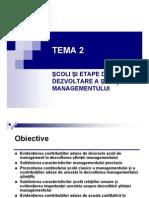 2_scoli Si Etape de Dezvoltare a Stiintei Managementului
