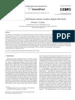 Characteristicss of ZnO Based Varistor Ceramics Doped With Al2O3