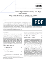 Compact Shape Sa a Relevant Parameter for Sintering ZnO-Bi2O3 Based Varistors
