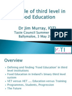 the role of third level in food education - dr  jim murray ioti