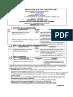 NIHFW Admission Notice 2013-14