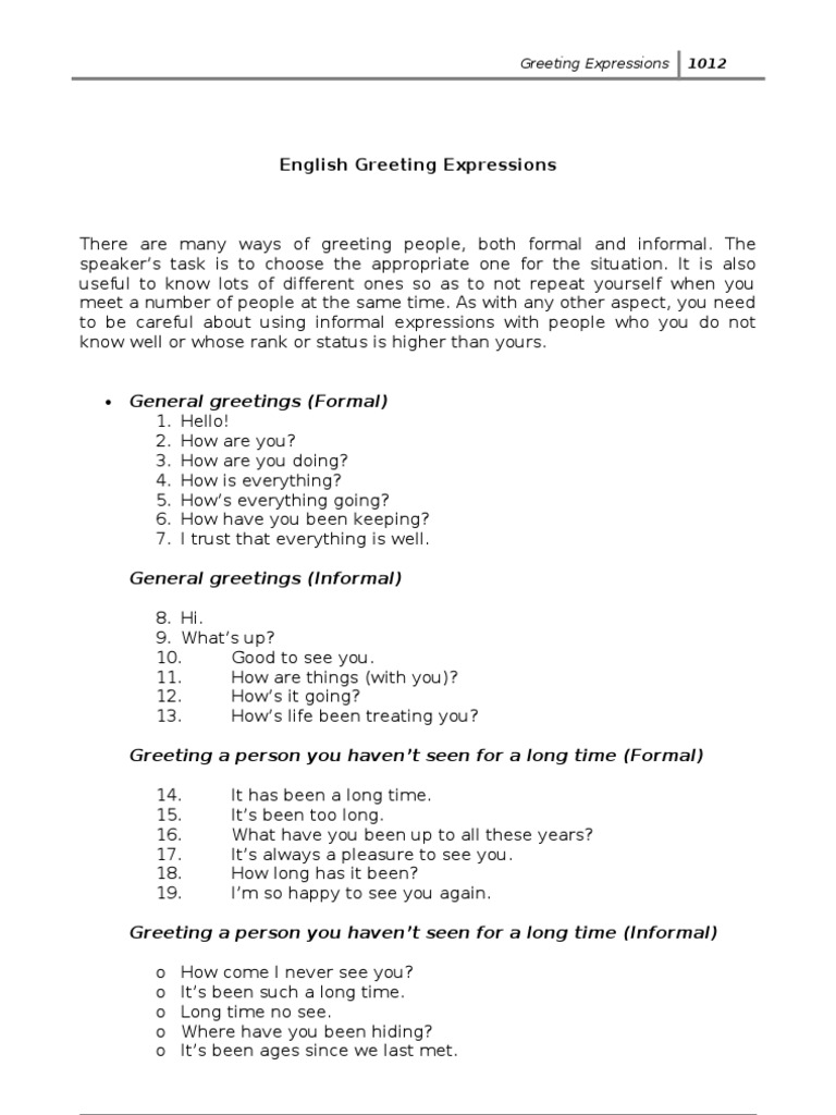English Greeting Expressions English Language Conversation