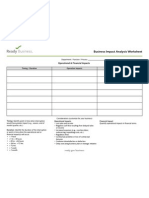 FEMA Business Impact Analysis Worksheet