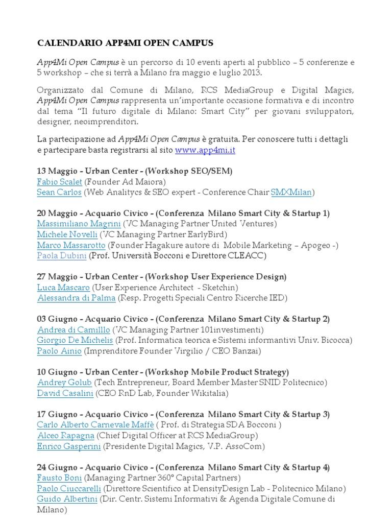 Calendario Politecnico Milano.Calendario App4mi Open Campus 2013