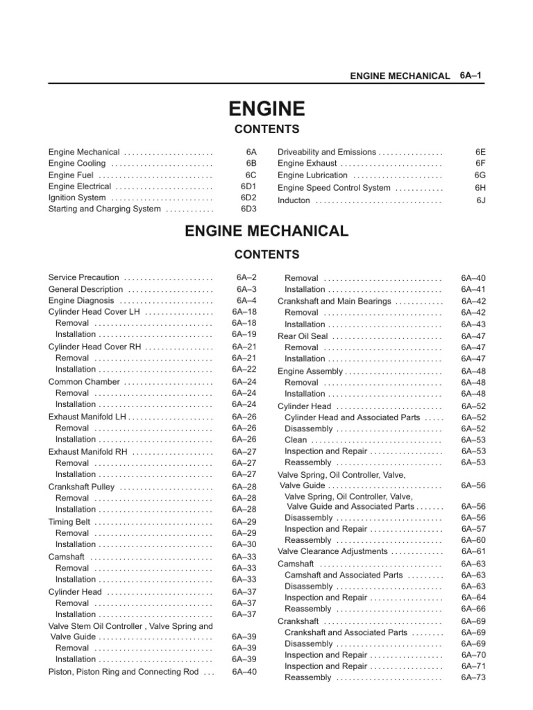 Isuzu Trooper 2000 Service Manual Motor