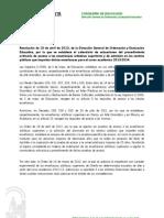EnseñRegEspecial.SUPERIORES.acceso admision.2013-14
