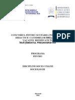 Sociologie Programa Titularizare 2010 P