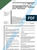 NBR 5587 - PB 225 - Tubos de Aco Para Conducao Com Rosca ANSI ASME B1201 - Dimensoes Basicas - Pa
