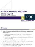 City of Kitchener Casino public survey Report May  8, 2013