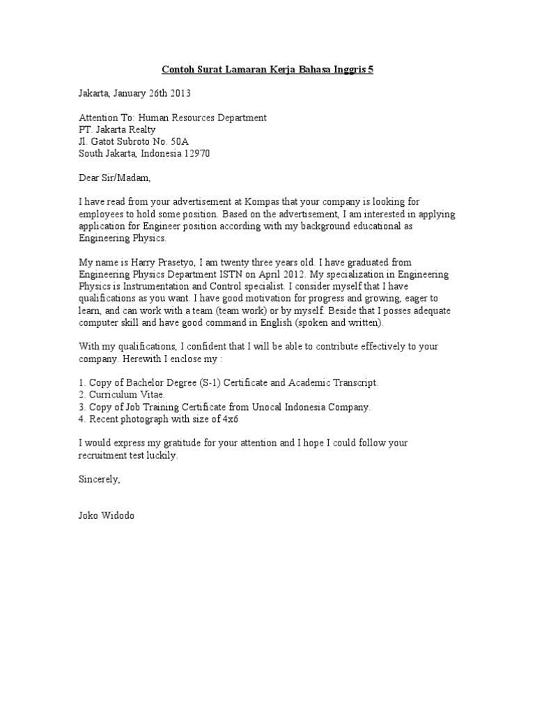 Contoh Surat Lamaran Kerja Bahasa Inggris 5 Doc