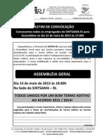 BOLETIM SINTSAMA RJ CONVOCAÇÃO PAUTA TERMO ADITIVO ACT 2012 2014 15 MAIO