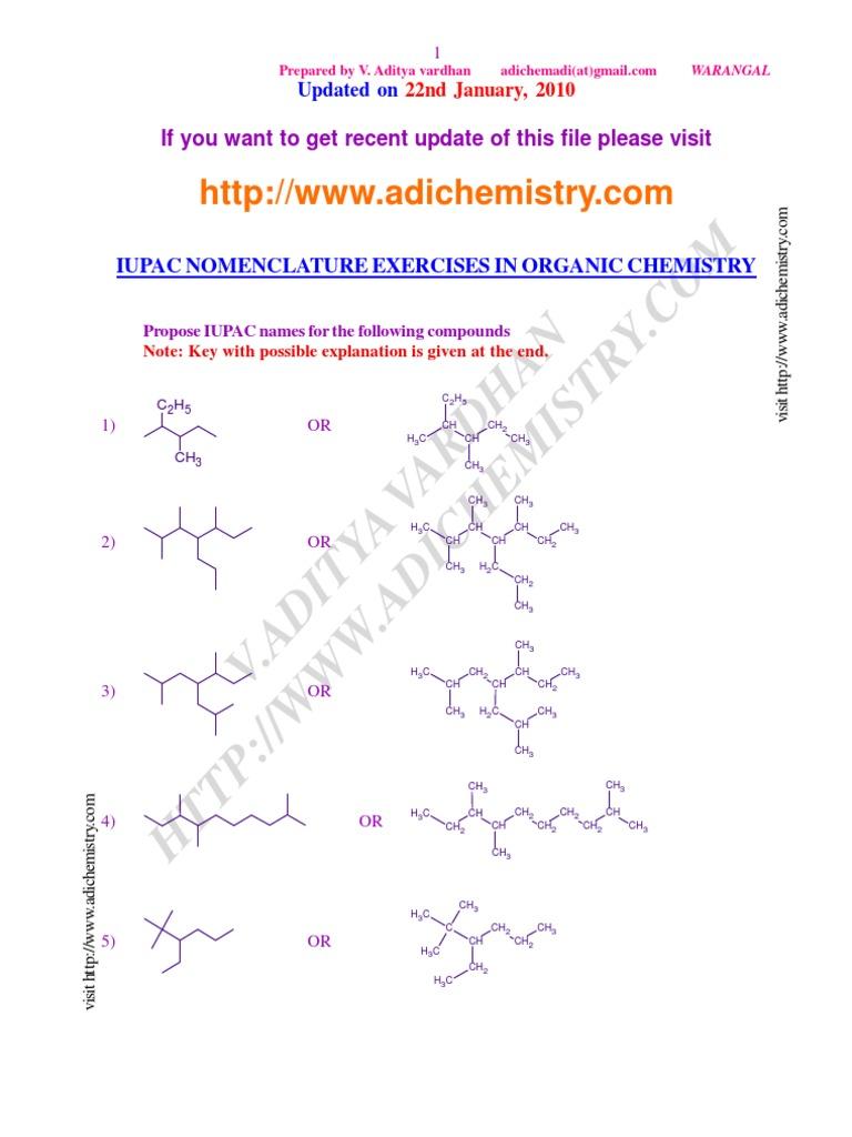 Iupac Nomenclature Exercises In Organic Chemistry Alkene Methyl