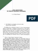 Algunas Anotaciones de Fonetica Historica Aragonesa
