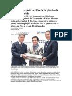 05-05-2013 Excelsior - Arranca la construcción de la planta de Audi en Puebla