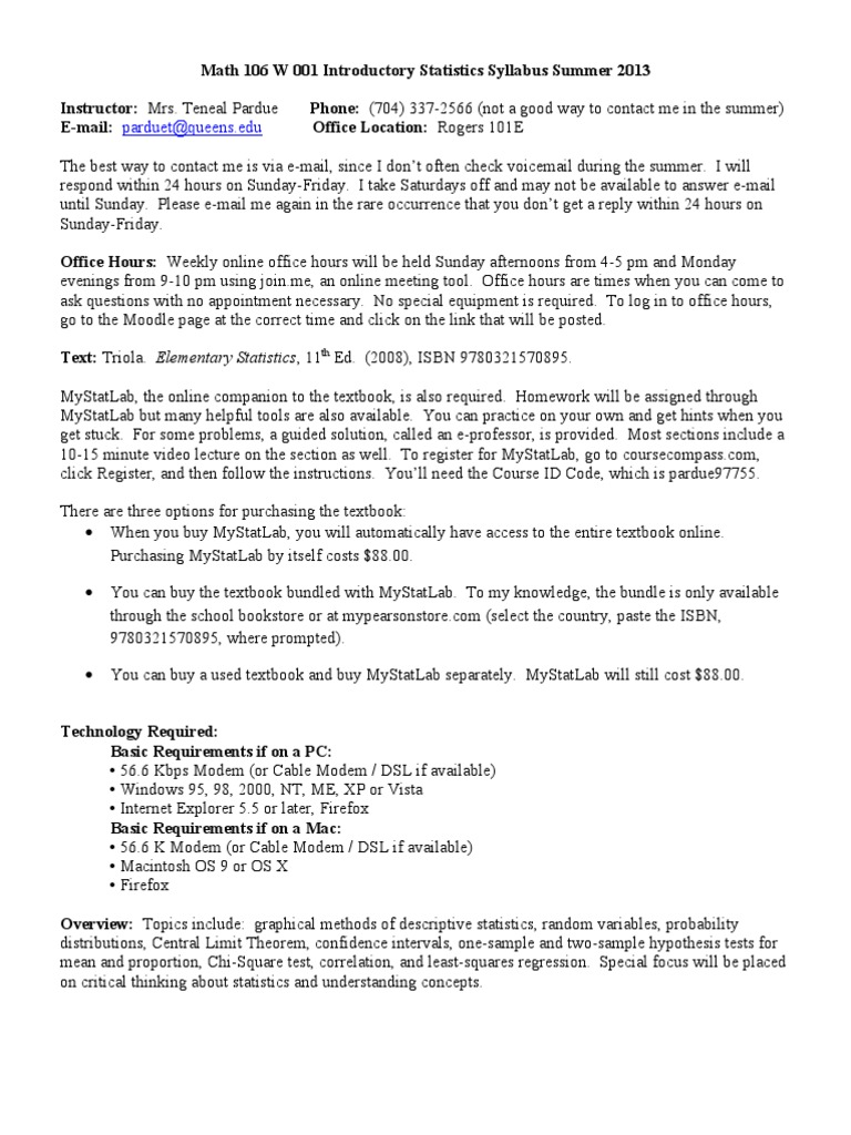 Syllabus_2013 | Statistical Hypothesis Testing | Confidence