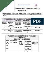 HORIO DE EXAMEN FINAL II PERÍODO.