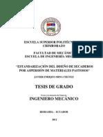 ESTANDARIZACIÓN DEL DISEÑO DE SECADEROS POR ASPERSIÓN DE MATERIALES PASTOSOS