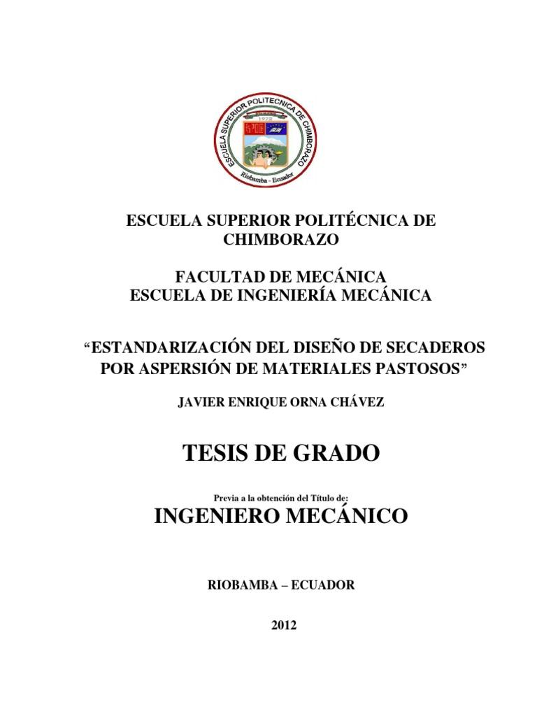 ESTANDARIZACIÓN DEL DISEÑO DE SECADEROS POR ASPERSIÓN DE MATERIALES ...