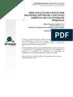 Implantação de gestão por processos - estudo de caso numa gerência de um centro de pesquisas