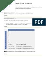 Funciones de Excel Con Ejemplos