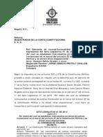 Demanda de inconstitucionalidad contra Marco jurídico para la paz en Colombia