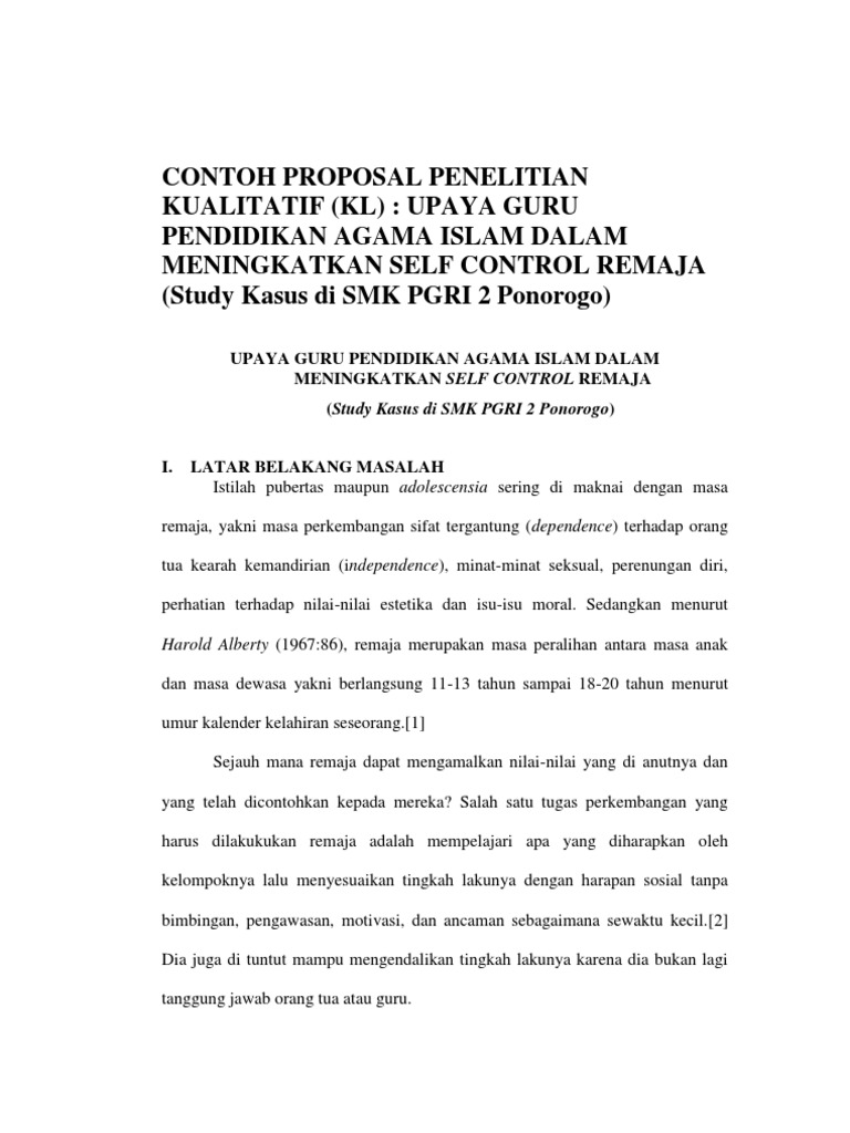 Contoh Proposal Skripsi Pai Library Research