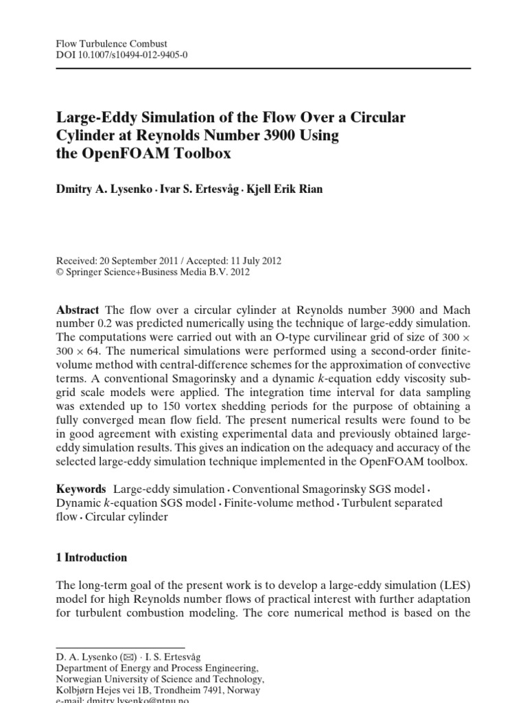 Large-Eddy Simulation of the Flow Over a Circular Cylinder