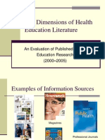 HSci 237 the Dimensions of Health Education Literature